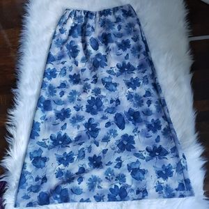 Deadstock vintage 90's Blue Watercolor Maxi Skirt